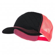 Fashion Quilted Trucker Two Tone Neon Mesh Cap - Black Neon Pink