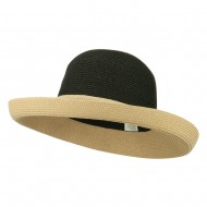 UPF 50+ Two Tone Roll Up Hat - Black Tan