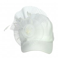 Ball Cap with Fascinator - White