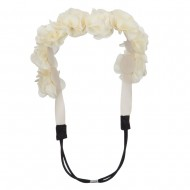 Flower Elastic Hairband - Ivory