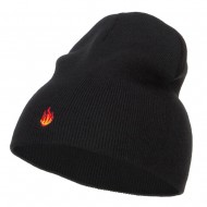 Mini Fire Embroidered Short Beanie - Black