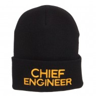 Chief Engineer Embroidered Long Beanie - Black