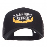 US Air Force Retired Embroidered Mesh Cap - Black