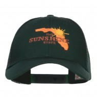 Florida Sunshine State Embroidered Mesh Cap - Dk Green