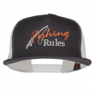 Fishing Rules Embroidered Snapback Mesh Cap - Charcoal White
