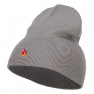 Mini Fire Embroidered Short Beanie - Grey