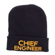 Chief Engineer Embroidered Long Beanie - Navy