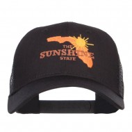 Florida Sunshine State Embroidered Mesh Cap - Black