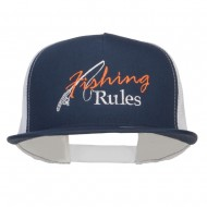 Fishing Rules Embroidered Snapback Mesh Cap - Navy White