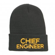 Chief Engineer Embroidered Long Beanie - Dk Grey