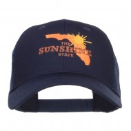 Florida Sunshine State Embroidered Mesh Cap - Navy