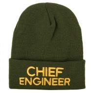 Chief Engineer Embroidered Long Beanie - Olive