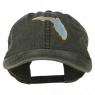 Florida State Map Embroidered Washed Cap - Black