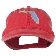 Florida State Map Embroidered Washed Cap - Red
