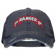 US Army 1st Ranger BN Embroidered Low Profile Cotton Mesh Cap - Navy