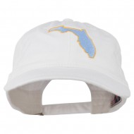 Florida State Map Embroidered Washed Cap - White
