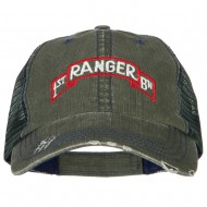 US Army 1st Ranger BN Embroidered Low Profile Cotton Mesh Cap - Green