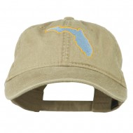 Florida State Map Embroidered Washed Cap - Khaki