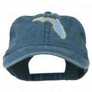Florida State Map Embroidered Washed Cap - Navy