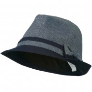Girl's Fedora with Two Bow Accent - Navy