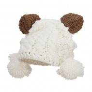 Girl's Pom Pom Knit Animal Ear Beanie - Ivory