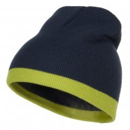 Fine Gauge Two Tone Knitting Cap-Navy Lime