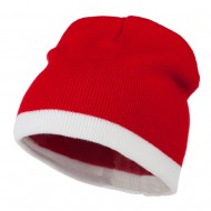 Fine Gauge Two Tone Knitting Cap-Red White