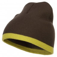 Fine Gauge Two Tone Knitting Cap-Brown Olive