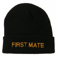 First Mate Embroidered Long Beanie - Black