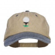 Golf Ball Tee Embroidered Washed Cap - Khaki Navy