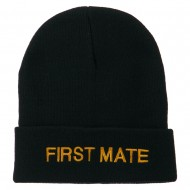 First Mate Embroidered Long Beanie - Navy