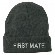 First Mate Embroidered Long Beanie - Grey