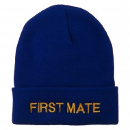 First Mate Embroidered Long Beanie - Royal