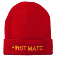 First Mate Embroidered Long Beanie - Red