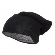 Long Deep Shell Slouchy Beanie - Black
