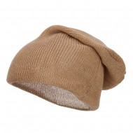 Long Deep Shell Slouchy Beanie - Beige