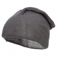 Long Deep Shell Slouchy Beanie - Grey