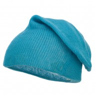 Long Deep Shell Slouchy Beanie - Blue