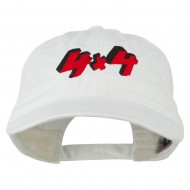 4 By 4 Embroidered Washed Cap - White