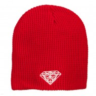 Big Size Diamond Embroidered Waffle Beanie - Red