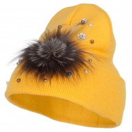 Flat Fur Snow Flake Cuff Beanie - Yellow