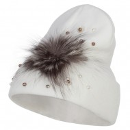 Flat Fur Snow Flake Cuff Beanie - White