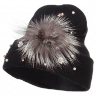 Flat Fur Snow Flake Cuff Beanie - Black