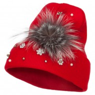 Flat Fur Snow Flake Cuff Beanie - Red