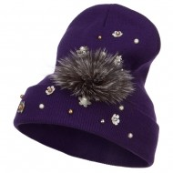 Flat Fur Snow Flake Cuff Beanie - Purple