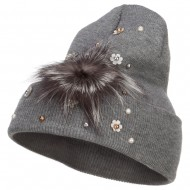 Flat Fur Snow Flake Cuff Beanie - Grey