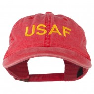 USAF Embroidered Military Washed Cap - Red