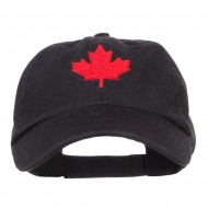 Canada Maple Leaf Embroidered Low Cap - Black