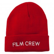 Film Crew Embroidered Long Beanie - Red