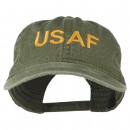 USAF Embroidered Military Washed Cap - Olive Green